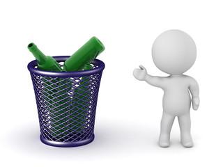 3D Character Showing Trash Basket with Bottles