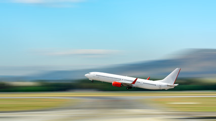 Airplane take off. Motion blur effect. Wall mural