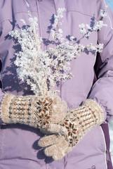 Winter bouquet in women's hands