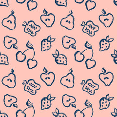 Seamless vector pattern with cute childish hand drawn fruits Pink doodle background with line drawing sketch apple, pear, strawberry. cherry, berry. pomegranate Graphic repeat doodle illustration