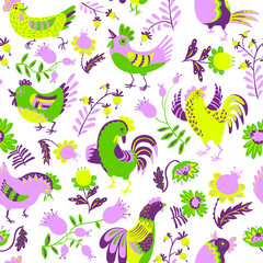 Seamless pattern with roosters. Cute decorative floral background with birds