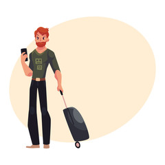 Young man hold suitcases and phone in jeans and t-shirt, cartoon illustration on background with place for text. Airplane passenger with suitcases, going to, from vacation