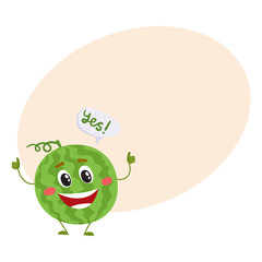 Cute and funny comic style watermelon character giving thumbs up, cartoon vector on background with place for text. Whole watermelon character, mascot smiling happily and giving thumbs up