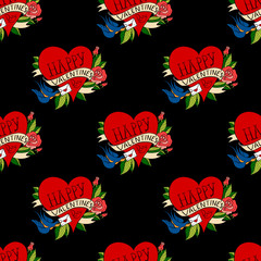 Seamless pattern with hearts in old school tattoo style. Valentines Day Romantic image vith letter on black background