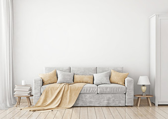 Livingroom Interior with sofa, pillows and plaid 