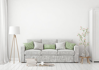 Livingroom Interior with sofa, pillows, lamp, books and vase with flowers on empty white wall background. 3D rendering.