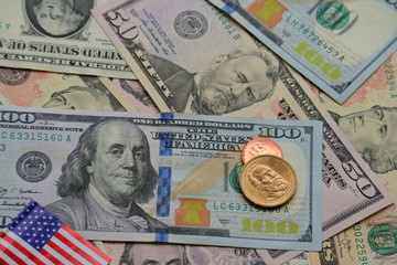 Dollar cash with US flag for background, investment finance concept