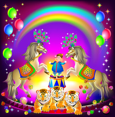 Poster for a circus performance. Merry clown on arena with trained animals. Vector cartoon image.