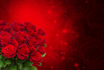 scarlet roses on dark red bokeh background with sparkles