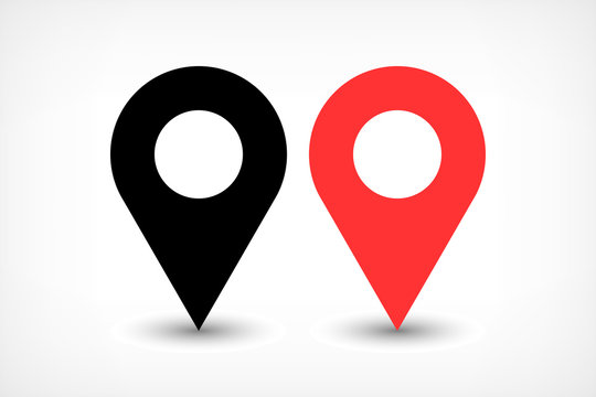 Red map pins sign icon in flat style
