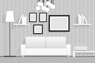 Interior Living Room Furniture 3d Realistic Design Vector Illustration