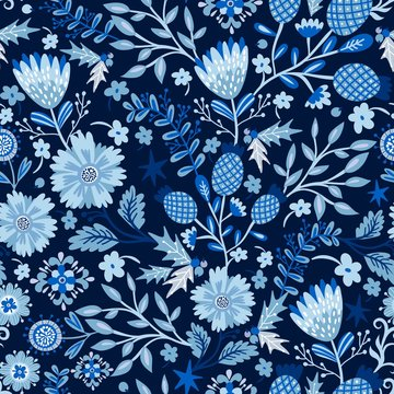 Vector seamless pattern of beautiful flowers in blue color palette
