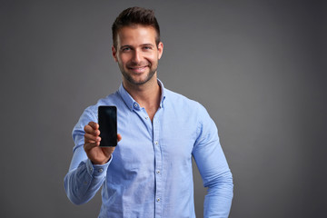 Young man with a smartphone