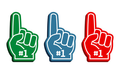 Colorful foam fingers vector set