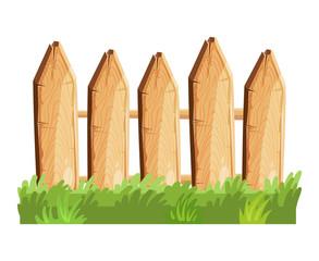 Cartoon rural wooden fence in green grass vector illustration