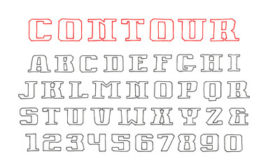 Contour serif font and numerals in the style of hand-drawn graph