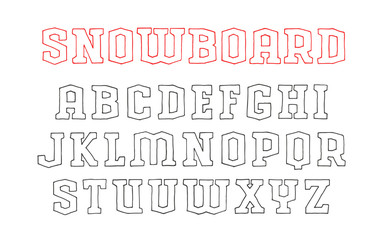 Contour serif font in the style of hand-drawn graphics