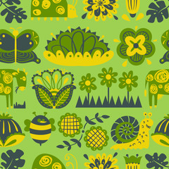 Floral seamless pattern with animals and insects.