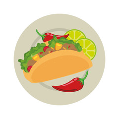 taco mexican food menu icon vector illustration design