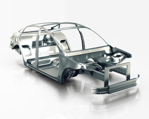 Car Frame Isolated. 3d illustration