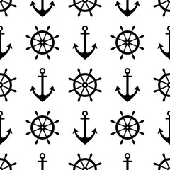 Vector seamless pattern with anchor, steering wheel. Symmetrical background, nautical theme. Graphic illustration. Black and white. Template for wrapping, backgrounds, fabric, prints, decor, surface