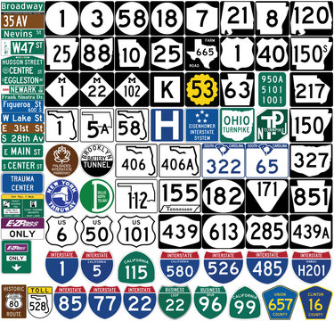Road signs in the United States. Shield markers. Vector Format