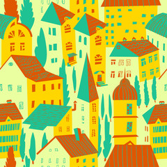 Seamless pattern with houses. Cute city vector illustration. Arc