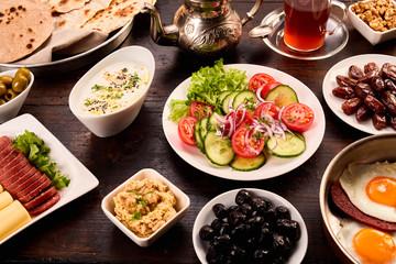Plate full of oriental breakfast