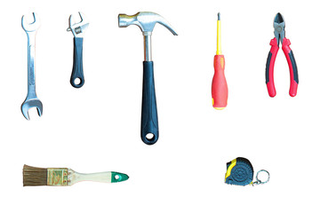 The tools isolated on a white background. Hammer, wrench, backgr