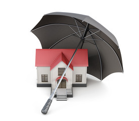 House is protected. Conceptual image isolated. 3d rendering