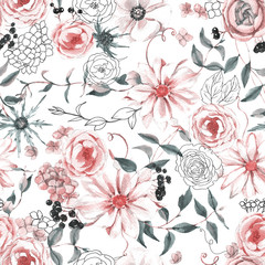 Hand-drawn watercolor seamless botanical pattern with different plants. Repeated natural background: rose, black berries, ranunculus, hydrangea, leaves.