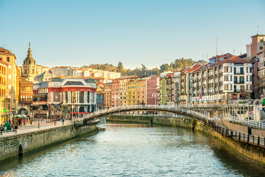 bilbao riverbank on sunny day, spain