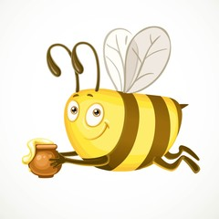Fun cartoon bee flies with clay pot ful of honey isolated on a w