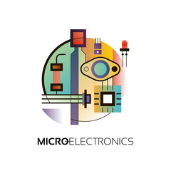 Electronic components. The sign and symbol for creation of logo design as radio market, microchip shop and internet shop.