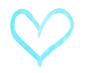 The outline of the sky blue heart drawn with paint on white background