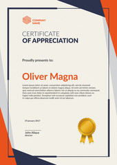 Certificate of Appreciation template. Flat geometric design. Layered eps10 vector.