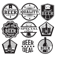 set of beer labels. retro style, vector illustration
