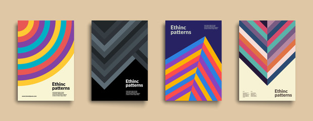 Set of covers with Ethnic Geometric Patterns. Applicable for Placards, Posters, Flyers and Banner Design. Eps10 Vector illustration.