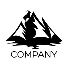 Mountain and goat  logo