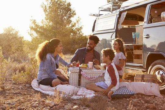 Family having a picnic beside their camper van, full length