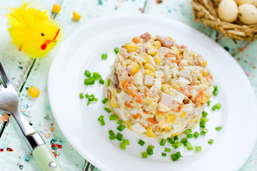 Easter salad with chicken, corn, egg and carrot