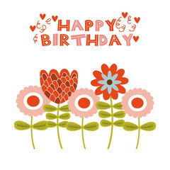 happy birthday card with flowers icons over white background. colorful design. vector illustration