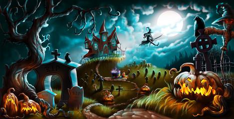 Halloween Night Mystery Graveyard Illustration