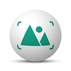 Green Picture icon on white sphere