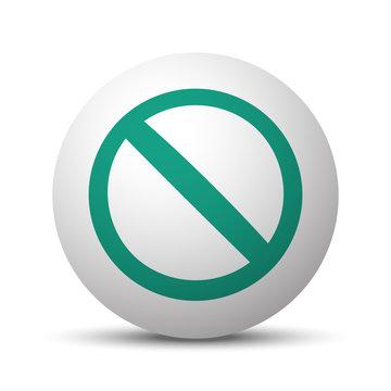 Green Forbidden icon on white sphere