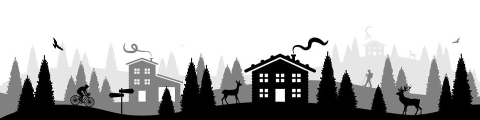 Panorama mit Hütte, Wald und Tieren