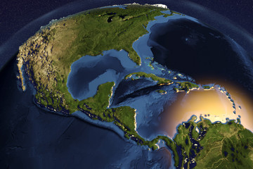 Planet Earth from space showing Central America with enhanced bump, 3D illustration, Elements of this image furnished by NASA