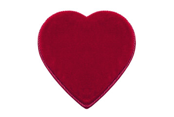 Red heart-shaped velvet box for Valentine's day gift isolated on