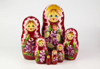 Russian nesting dolls on a white background.