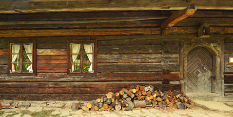 Doorstep of old rural woody house in Slovakia